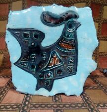 ADAM DWORSKI WELSH ART POTTERY WALL PLAQUE. WYE. M.C.M. ABSTRACT CHICKEN.
