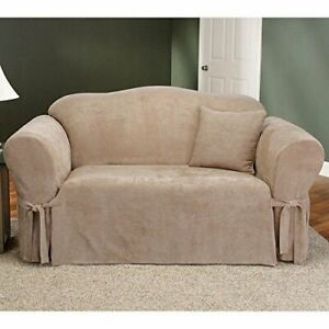 *SALE Sure Fit Soft Suede 1 Piece Love Seat Slipcover Box Cushion in Taupe/Beige