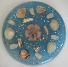 """Vintage Lucite Resin Trivet Hotpad Ocean Blue with Seashells 6.5"""" Round Classic"""