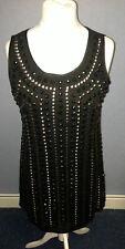 Platinum By Sky Shift Beaded Dress 1920s Style Black Size 1 UK 8-10 SALEs PP 20