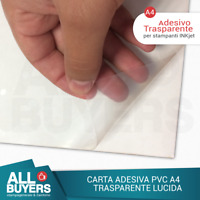 10 FOGLI FILM PVC TRASPARENTE A4  CARTA ADESIVA PER STAMPANTI INKJET