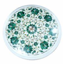 "12"" Marble side Table Top malachite Pietra Dura Inlay Handmade Work Home Decor"