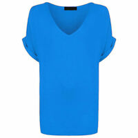 Women Oversized Baggy Loose Fit Turn up Batwing Sleeve Tunic Top T shirt UK 8-28