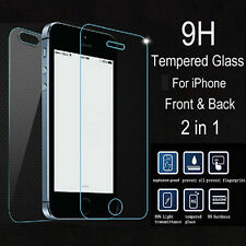 9H Front Back Premium Tempered Glass Film Screen Protector for iPhone SE 5S