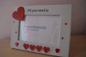 Personalised handmade photo frame ALL YOU NEED IS LOVE - couples valentine gift