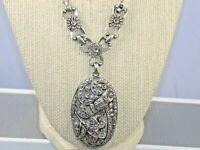 Antique Paste Marcasite Silver Tone Pot Metal Large Pendant Necklace