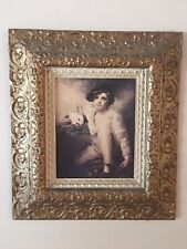 Vintage Home Interiors Gold Picture Frame Ornate 16X18 Boy with Rabbit 1398 Cw
