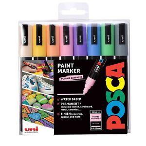 Uni POSCA Paint Markers PC-5M Bullet Tip Set of 8 Pastel Colours