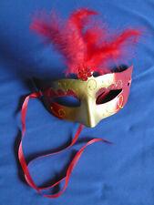 Venezianische Maske Gold Rot mit Feder