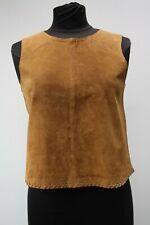 Zara Tan Suede Tank Top Cropped Vest Size M