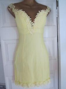 Rare London Bardot Lemon Yellow Size 8 Floral Lace Trim @ asos Top Mini Dress