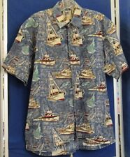 EUC Sailboats & Fish SHIRT - AVI Collection KAHALA Hawaiian ISLANDS w. LOGO Sz M