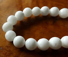 40pcs 10mm Round Gemstone Beads - Malaysian Jade - Opaque White
