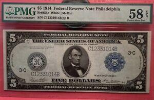 1914 $5 Federal Reserve - PHILADELPHIA, PMG 58 EPQ CHOICE AU EPQ Fr. 855c