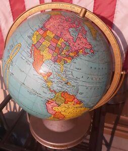 Vintage Cram's Universal Terrestrial No. 3 Globe DUOGYRAL 12 inch 1949 VGC+