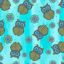 Blank Quilting 9657-70 Mandala Tango Owls Blue Cotton Fabric By The Yard