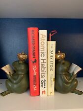 More details for pair of heavy frog king book ends statue fairy tale curios