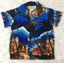 Vintage Royal Hawaiian creations Boys Hawaiian Shirt Blue red Size 4 New