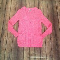 Aeropostale Womens Pink V Neck Long Sleeves Marled Cardigan Sweater Size XS