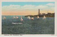 MARBLEHEAD, MA Massachusetts  LIGHTHOUSE POINT  Sailboats   Vintage  Postcard