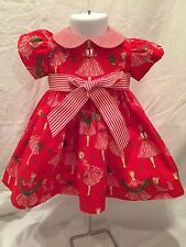 Girls Handmade Holiday Dress With A Red Vintage-Look Print and Design 12months