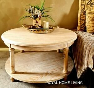 COFFEE TABLE ROUND WOODEN 92CM WIDE WITH SHELF