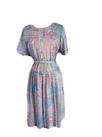 Size 14 Vintage Women's Belted Pleated Fit And Flare Dress half Buttoned