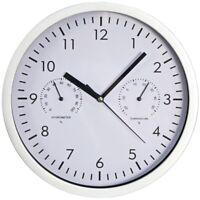 Design-Wanduhr Uhr Clock mit Thermo- & Hygrometer weißes Ziffernblatt Ø 25 cm
