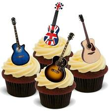 NOVELTY ACOUSTIC GUITAR MIX 12 STAND UP Edible Cake Toppers Birthday Music