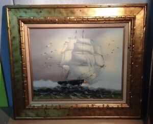 """LARGE Vintage   29"""" BY 25"""" OIL PAINTING ON CANVAS SAILING SHIP ON THE HIGH SEAS"""