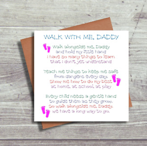 First 1st Father's Day Card - Walk With Me Daddy Daughter - New Baby Dad Daddy