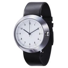 "Normal Timepieces ""Fuji"" Quarzo Acciaio Inox Bianco Pelle Nero Orologio Uomo"