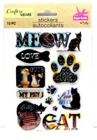 Puffy Distressed Metal CAT ANIMAL Sticker - Crafter's Square 3D Scrapbook Craft