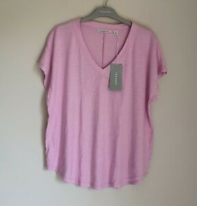 Trenery By Country Road Linen Cotton V-neck T-shirt Size 16, XL BNWT RRP $69.95