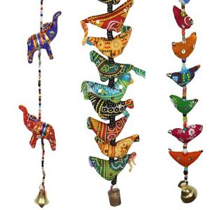 INDIAN STRING DECORATION HANGING MOBILE WITH CHIME BELL Chickens or Elephant