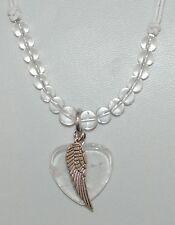 Clear Quartz Gemstone Heart & Angel Wing Pendant Necklace
