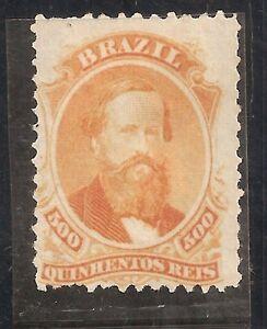 BRAZIL-1866- D.PEDRO II-500 REIS- Orange- MINT stamp-Y&T nr.29 - RHM nr.29