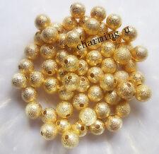 25pz perle metalliche diamentate spacer separatori 6mm colore oro