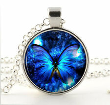 Silver Blue Butterfly Pendant Necklace - Unique Jewellery Art Gift / Present