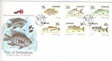 ZIMBABWE, 1989 FISH OF ZIMBABWE, 1ST SERIES,  ILLUST FDC.