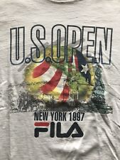 Vintage FILA 1997 US OPEN Tennis New York White T Shirt Twin Towers