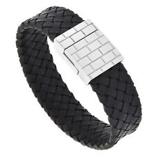 "8.5"" Black Leather Wide Flat Braid Bracelet w/ Stainless Steel Clasp"