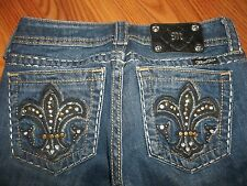 MISS ME JEANS SIZE 25 X 32 DISTRESSED SKINNY LEG BOOT SILVER STITCHING NWOT!