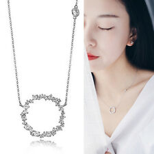 Fashion Women Silver Rhinestone Circle Clavicle Chain Pendant Jewelry Necklace