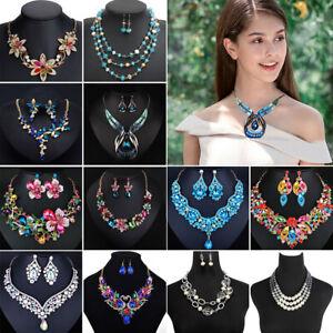 Fashion Rhinestone Pendant Bib Choker Chain Statement Necklace Earrings Jewelry