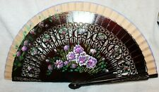 Vintage Wood Folding Hand Fan Hand painted 16 3/4""