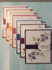 Set Of 7 happy birthday Cards, in rainbow of colors Envelope included Stampin up