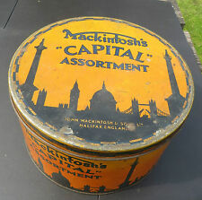 "LARGE VINTAGE MACKINTOSH'S  ""CAPITAL"" ASSORTMENT TIN - LONDON IN SILHOUETTE"