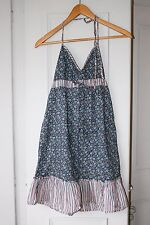 H&M Ladies Dark Blue Floral Sun Top - Size 10 - 100% Cotton