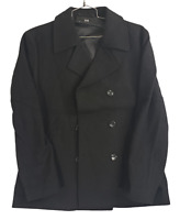 Find Men's Double Breasted Wool Blend Pea Coat Winter Jacket Color Black Size XL